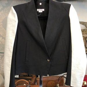 HELMUT LANG Black Cotton & Cream Linen Jacket